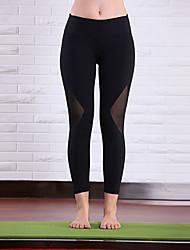 Corsa 3/4 Collant/Corsari / Pantaloni Per donna Traspirante Yoga Regina Yoga Elastico Nero S / M / L
