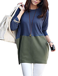 Women's Work / Casual All Match Color Block Dress , Round Collar Long Sleeve