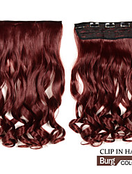 Long Clip in Synthetic Wavy/Curly Hair Extensions with 5 Clips burg