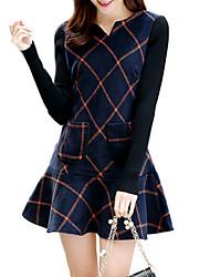 Women's The New Long Sleeved Plaid Wool Dress Sim