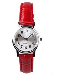 Mulheres Relógio de Moda Quartz Impermeável PU Banda Vermelho marca-