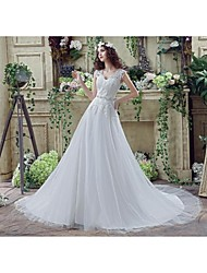 Wedding Dress - White Court Train Off-the-shoulder Tulle