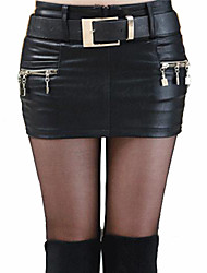 Women's Solid Black Skirt,Sexy Mini Zipper Design