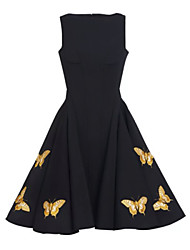Women's Party / Cocktail / Casual / Day Solid Swing Dress , Boat Neck Knee-length Polyester