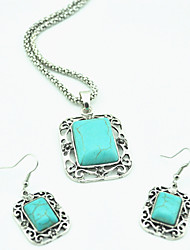 Vintage Antique Silver Hollow Alloy Square Turquoise Stone Necklace Earring Jewelry Set(1Set)