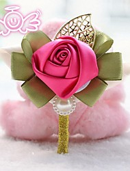 """Wedding Flowers Round Roses Boutonnieres Wedding Pink / Red / Brown / White / Gold Satin 3.15""""(Approx.8cm)"""