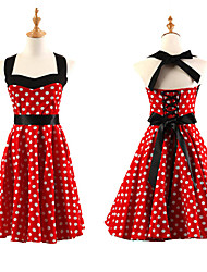 Women's Halter 50s Vintage Polka Dots Rockabilly Swing Dress
