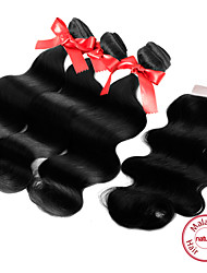"EVET Malaysian Virgin Hair Weft Body Wave Human Hair Weave Bundles With 4""x4"" Lace Closure"