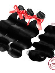 Trame cheveux avec fermeture Cheveux Malaisiens Ondulation naturelle 12 mois tissages de cheveux