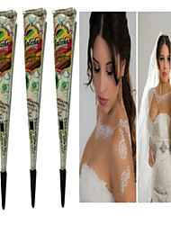 3pcs White Henna Cones Tatoo Tube Indian Temporary Tattoo Body Paint For Bridal & Wedding