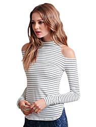Women's Striped White Blouse , Turtleneck Long Sleeve