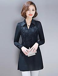 Women's Patchwork / Lace Plus Size White / Black Blouse , V Neck Long Sleeve
