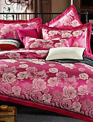 4 peças roma jacquard estilo de cama de seda nobreza de alta qualidade, roupa de cama bordadas conjunto de capa de edredon