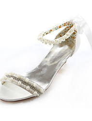 Women's Shoes Silk Summer Peep Toe / Mary Jane Wedding / Dress / Party & Evening Low Heel Crystal / Pearl Ivory