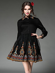 Women Dress Plus Size 2016 Vintage Embroidery Gauze Patchwork Long Sleeve Classical Elegant Party/Casual Dress