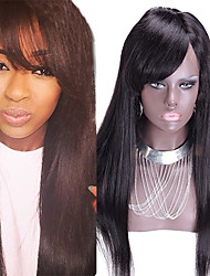 Wholesale Price Human Hair Lace Front Wig With Side Bangs Peruvian Lace Front Straight Wig With Bangs Natural Color