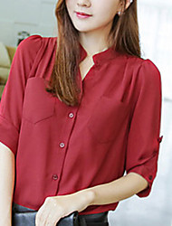 De las mujeres Camisa - Bolsillo Escote Chino - Poliéster - 3/4 Manga