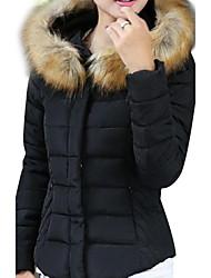 Women's Down Coat with Detachable Faux Fur Collar