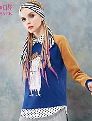 ELFSACK Feminino Colarinho de Camisa Manga Comprida Hoodie & camisola Azul / Roxa - 1431100