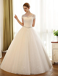 A-Line Scoop Neck Floor Length Lace Satin Tulle Wedding Dress with Appliques Lace by JUEXIU Bridal