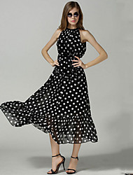 Women's Casual / Day / Boho Polka Dot Plus Size / Chiffon Dress , Round Neck Maxi Spandex