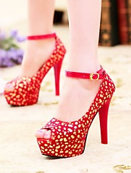 Women's Shoes Fabric Stiletto Heel Heels / Peep Toe / Platform Sandals Party & Evening / Dress Black /  Red / White