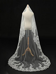 Wedding Veil One-tier Blusher Veils / Chapel Veils / Cathedral Veils Lace Applique Edge / Beaded Edge Tulle Ivory