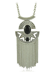 Fashion Jewelry Metal with Black Faux Stone and Chains Tassel Pendants Necklace
