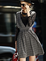 Women's Lace Gray Dress , Casual / Lace Round Neck Long Sleeve