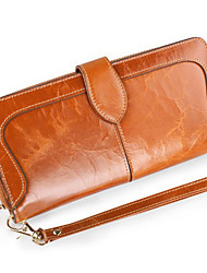 Women's Genuine  Leather Clutch Wallet  Fashion Large Capacity Oil Wax Hasp Handbags
