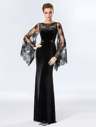 Formal Evening Dress - Black Sheath/Column Scoop Floor-length Velvet