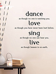 AWOO® Dance Love  Home  Wall Sticker DIY Home Decorations Quotes Vinyl Wall Decals Wall Mural Art