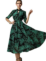 Women's Going out Vintage Swing Dress,Print Halter Maxi ¾ Sleeve Blue / Green Spring / Fall / Winter