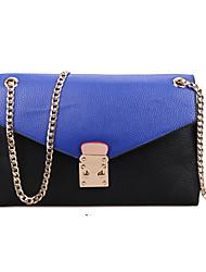 Women PU Baguette Shoulder Bag - Blue / Black