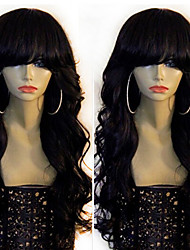 Black Women Glueless Full Lace Wigs Human Hair with Bangs Brazilian Full Lace Human Hair Wig 130 Density with Baby Hair