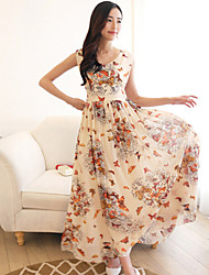 Summer Women's Butterfly Print Chiffon Formal Party Ball Gown Prom Beach Long Maxi Dress