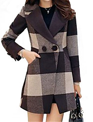Women's Trench Coat,Geometric Long Sleeve Fall Brown Wool / Others Medium