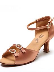 Non Customizable Women's Dance Shoes Leather / Sparkling Glitter Leather / Sparkling Glitter Latin Heels Flared HeelPractice / Beginner /