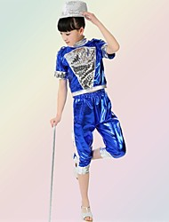 Jazz Outfits Children's Performance Sequined Sequins 2 Pieces Sleeveless Top / Shorts S:28cm  M:30cm  L:32cm  XL:34cm  2XL:36cm