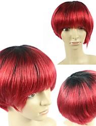 100% vrais cheveux humains perruques bon marché sans colle brésiliens 1B / rouge perruques de cheveux de Omber courtes droites aucun