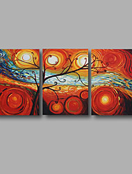 "Ready to Hang Stretched Hand-Painted Large Oil Painting 60""x28"" Canvas Wall Art Modern Abstract Life Trees Art"