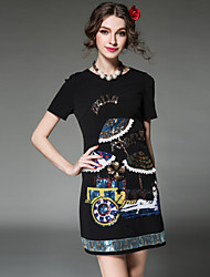Plus Size Women 2016 Dress Vintage Fashion Sequins Bead Embroidery Slim Short Sleeve Dress