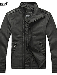 Lesmart Hombre Escote Chino Manga Larga Abajo y abrigos esquimales Gris - MDFY2222
