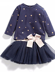 Girl's Blue Clothing Set , Dot Spring / Fall