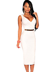 Women's Faux Wrap Belted Fashion Vintage Sexy Midi Dress