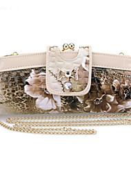 D.Jiani Clip Evening Bag Clutch Bag Beige Diamond Pattern Embossed Wallet