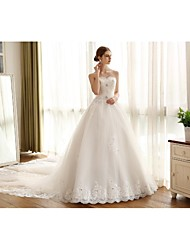 Ball Gown Wedding Dress Cathedral Train Strapless Lace / Satin / Tulle with Appliques / Lace