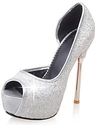 Women's Wedding Shoes Heels / Peep Toe Sandals Wedding / Dress Black / Pink / White