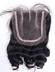 12-20inch Přírodně černá  (#1B) Ručně vázané Přírodní vlny Lidské vlasy Uzavření Středně hnědá Švýcarská krajka 20-60g gramDrobná /