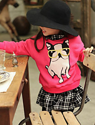 Girl's Spring / Fall Cotton Sequin Long Sleeveed Thickening And Velvet Glasses Puppy Lattice Dress